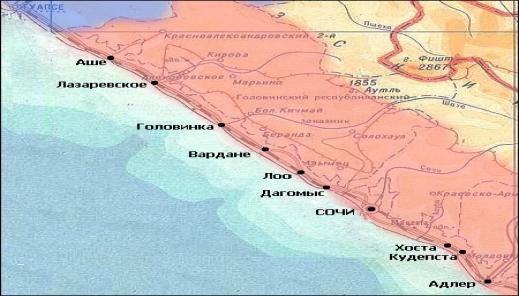 Карта схема побережья